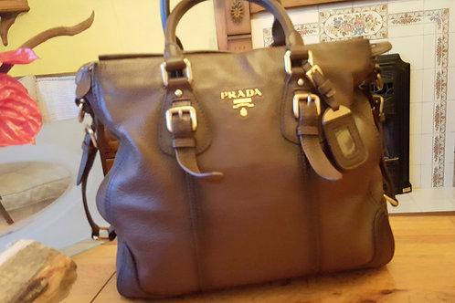 Prada Vitello Daino Brown Leather Bag