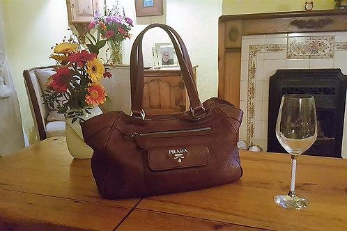 Prada Vitello Daino Brown Leather Bag S O L D