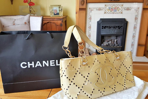 Chanel PATENT IVORY LEATHER TOTE BAG