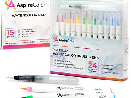 Introducing AspireColor Watercolor Brush Pens Set 24 Colors