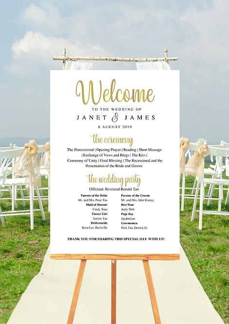 Wedding Programme Board - Gold Elegant