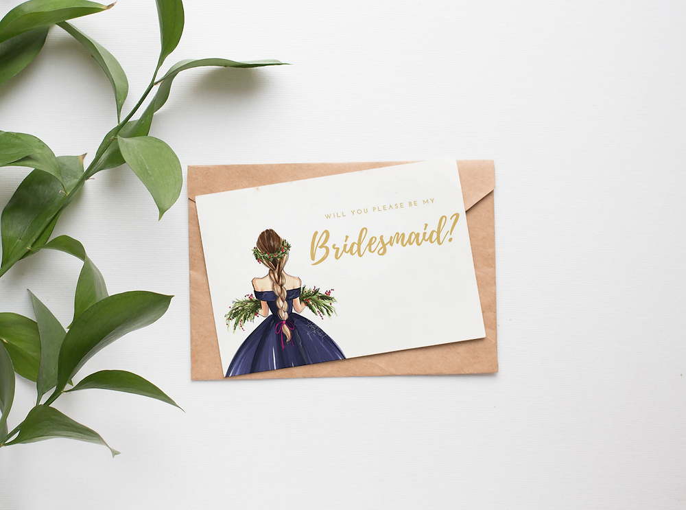 Bridesmaid Proposal Card: Cranberry