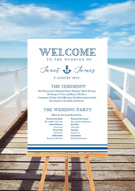 Wedding Programme Board - Nautical