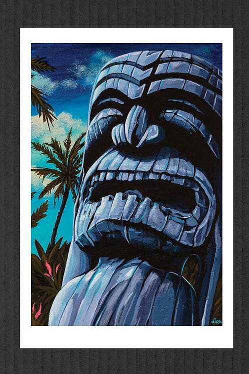 Blue Ku Tiki print