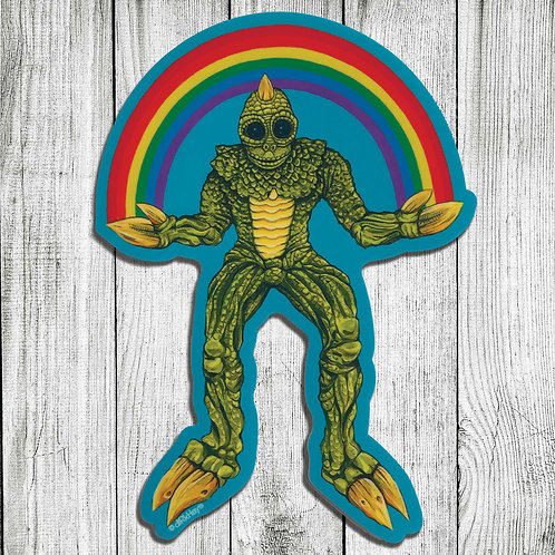 Sleestak Rainbow cutout print