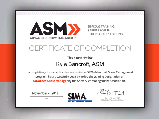 Kyle Bancroft earns Advanced Snow Manager designation from the Snow & Ice Management Association