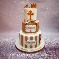 joint birthday Christening cake