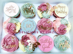 grey blush and dusky pink cupcakes