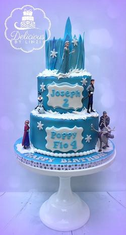 3 tier frozen birthday cake
