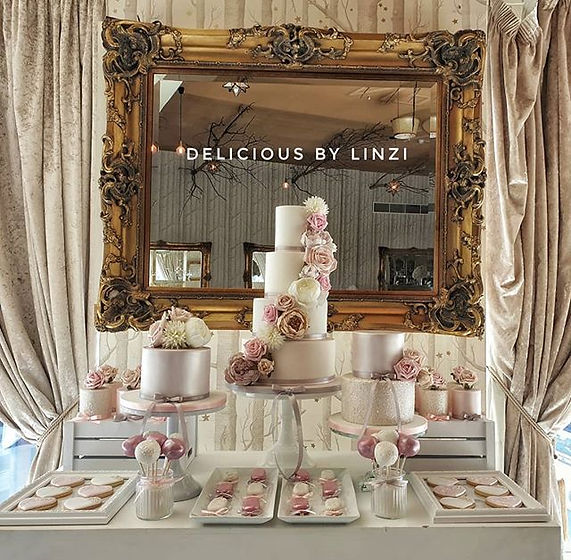Beautiful wedding dessert table delivere