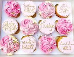 pink new baby cupcakes