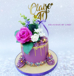 purple and gold drip cake