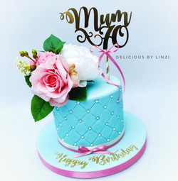 blue quilted floral cake
