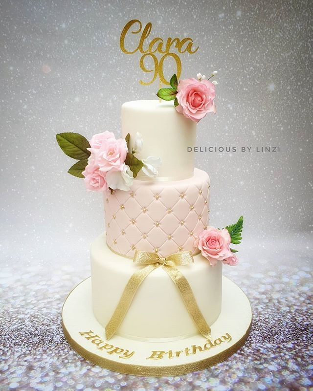 Gorgeous 3 tier 90th birthday cake compl