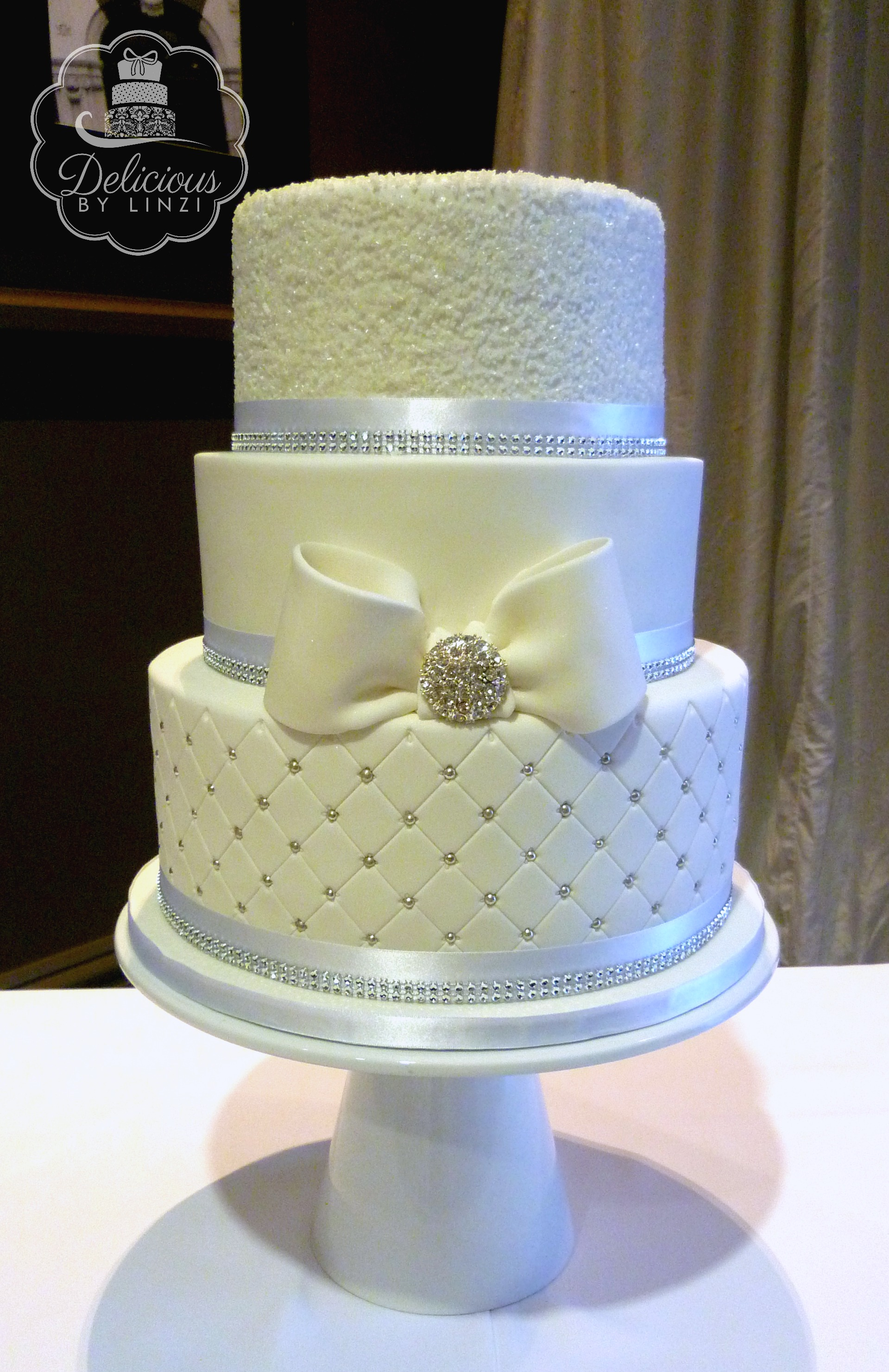 quilted sparkly wedding cake