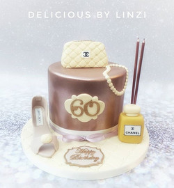 Rose gold metallic birthday cake with su