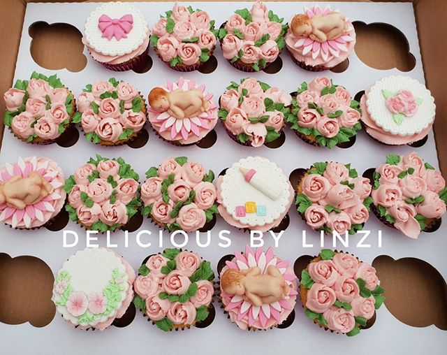 Pretty baby girl baby shower cupcake set