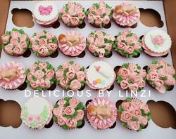 Pretty baby girl baby shower cupcake set
