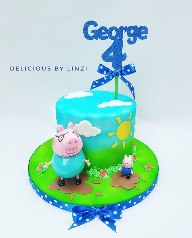 Cute little piggy cake for George's 4th