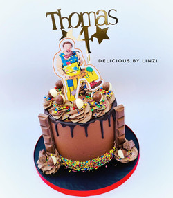 mr tumble chocolate drip cake