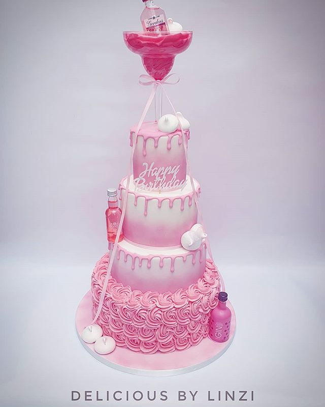 4 tiered Pink Gin themed birthday cake �