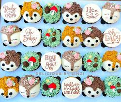 woodland animals baby shower cupcakes