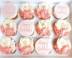 peaches and blush birthday cupcakes