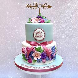 duck egg floral wedding cake