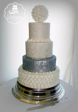 sequined marble detailed wedding cak