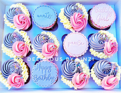 pink and lavender birthday cupcakes