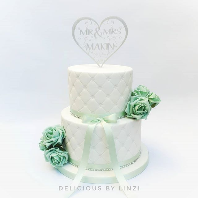 Mint and silver quilted cake