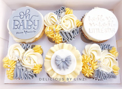 lemon and grey baby shower cupcakes