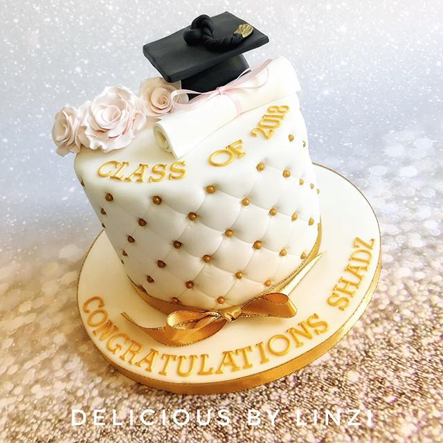 ivory and gold graduation cake