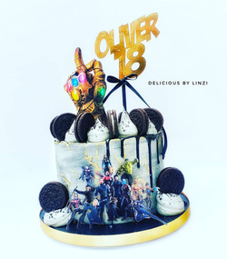 avengers end game themed drip cake