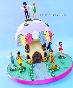 faeries toadstool house cake