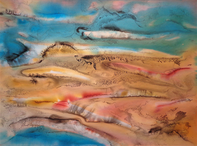 Davide Barbarino, Show Me The Desert, I'll Show You The Sea, 2015 ink and watercolors on cotton paper 56x76cm