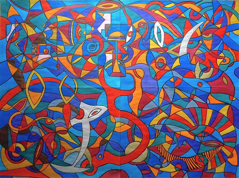 Davide Barbarino - Rêveries de la côte bleue. 2018, watercolors and indian ink on four cotton papers, 152x112cm