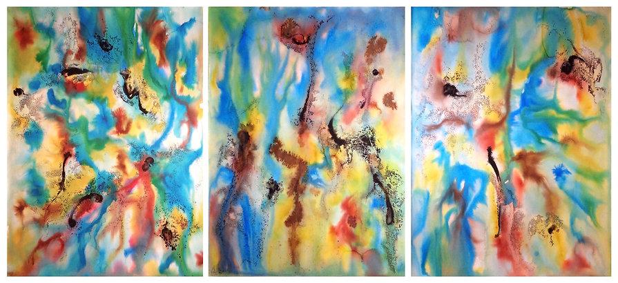 Davide Barbarino, Acquatica, 2017 - ink and watercolors on cotton paper  56x76cm x 3