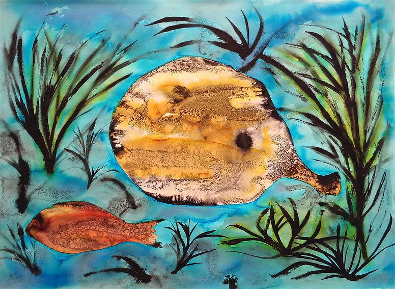 Davide Barbarino - Aquatic Mutations, 2017 ink and watercolors on cotton paper 56x76cm