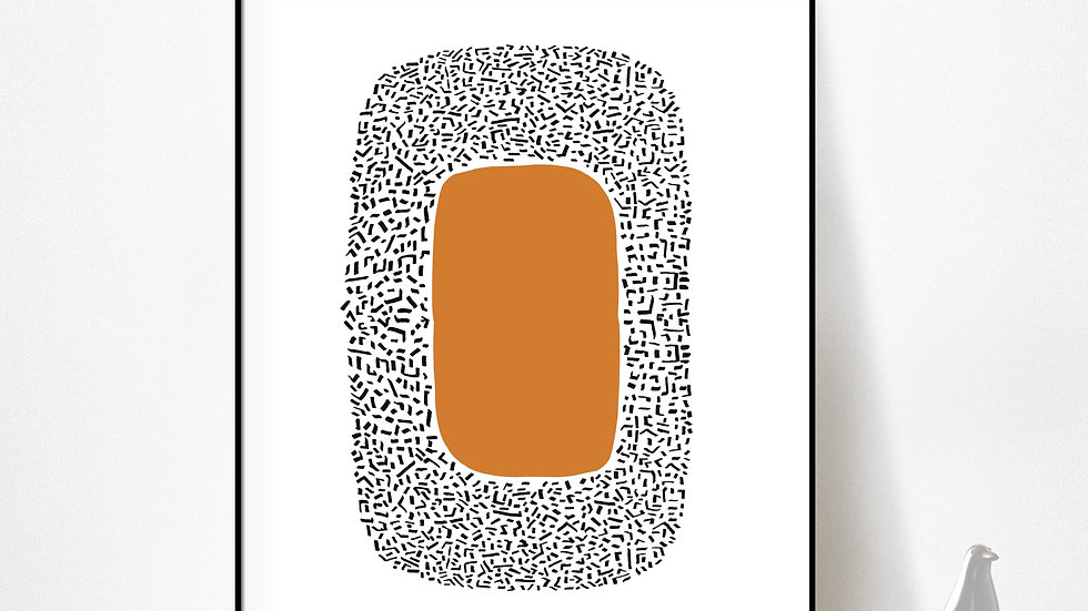 Orange and Black Abstract Art to Print in a range of popular sizes