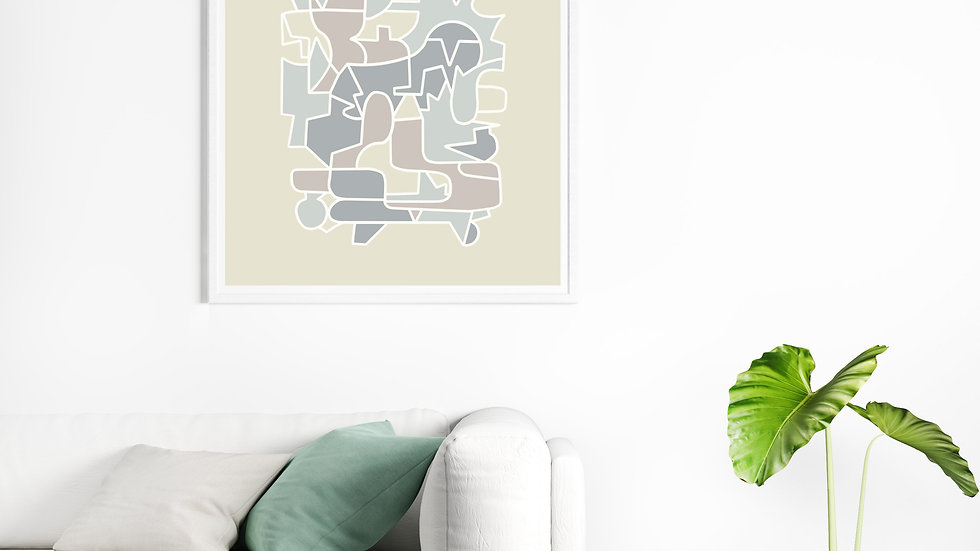 Downloadable print art, neutral colours modern art, Scandinavian art