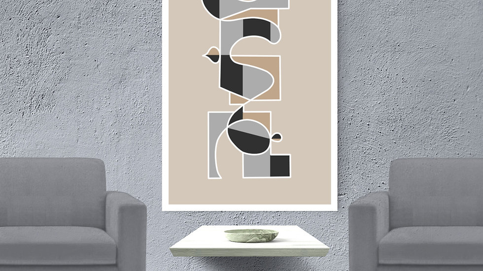 Very large, tall skinny neutral abstract art in grey, beige; printable