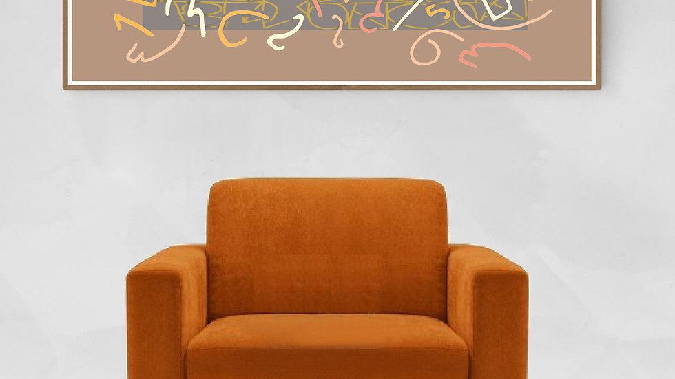 Long narrow / tall thin wall art in pink, ochre; printable