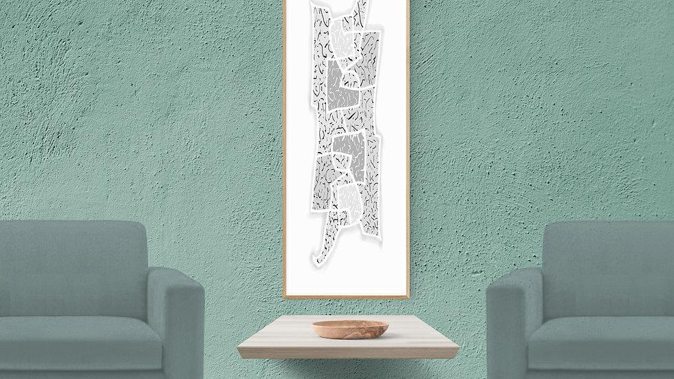 Long, narrow / tall thin, line wall art; neutral, printable