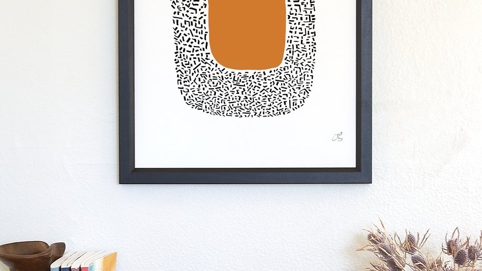 Framed poster: large modern orange abstract art in orange and black