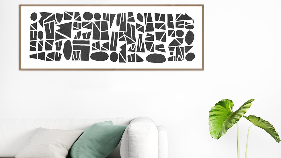 Long horizontal wall art in black; Wide narrow printable wall art