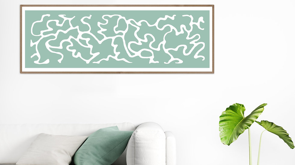 Long horizontal wall art in teal; Wide narrow printable wall art