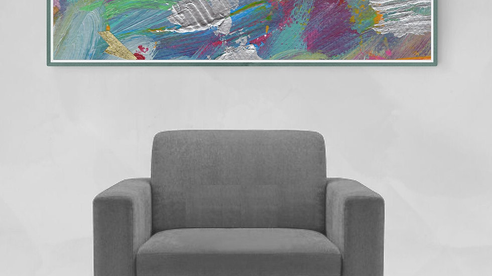 Bright colourful, wide wall art; abstract multi-media painting; horizontal art