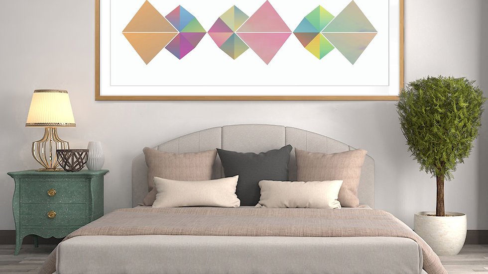 Long, narrow / tall thin geometric wall art; colourful, printable horizontal art