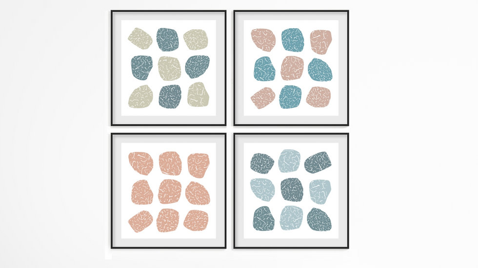 Set of 4 pastel abstract downloadable art images; in a range of popular sizes